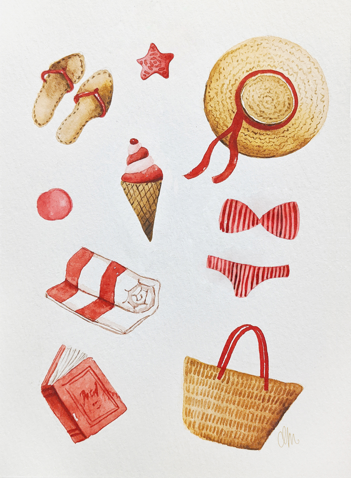 Alexandra-Motovilina_Summer-Illustration_Beach-essentials