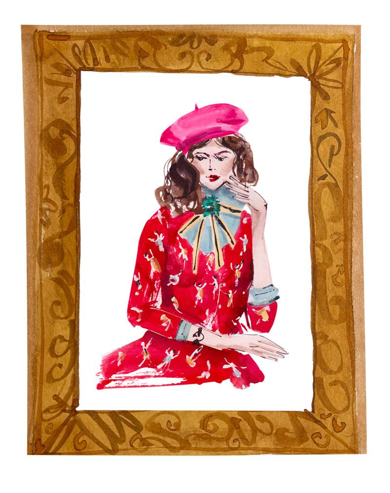 Pink-beret-red-dress-girl